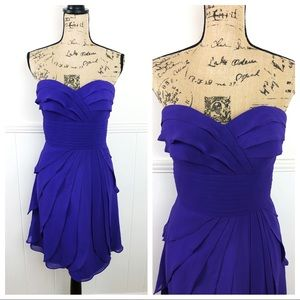 Bill Levkoff Purple Blue Sweetheart Ruffle Dress